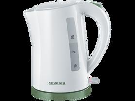Biały z zielonymi dodatkami czajnik SEVERIN WK 9931 o pojemności 1,5 litra